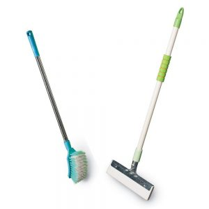 Vimal Ecowipe 250 (for Mini Size Bathroom) Floor Cleaning Wiper + Steelo Curvy (Long Handle) Toilet Brush Combo Set