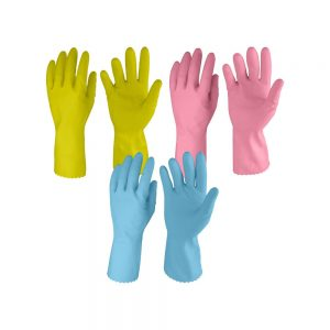 Primeway LW1_3As Medium Natural Rubber Flock Lined Hand Gloves Set (Multicolor, Pack of 3)