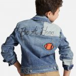 Boys' Patched Medium Wash Denim Jacket - Blue