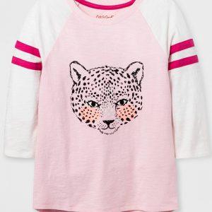 Girls' Sleeve Animal Baseball Graphic T-Shirt - Pink