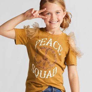 Girls' Cold Shoulder Short Sleeve T-Shirt with Tulle - Orange