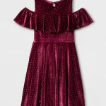 Girls' Cold Shoulder Velvet Dress - Burgundy