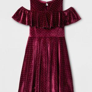 Girls' Cold Shoulder Velvet Dress - Burgundy