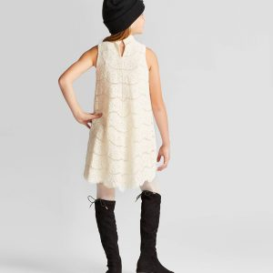 Girls' Lace Mock Neck Dress - art class