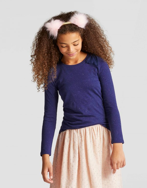 Girls' Long Sleeve Bow Top