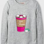 Girls' Long Sleeve Hot Cocoa Graphic T-Shirt-Heather Gray