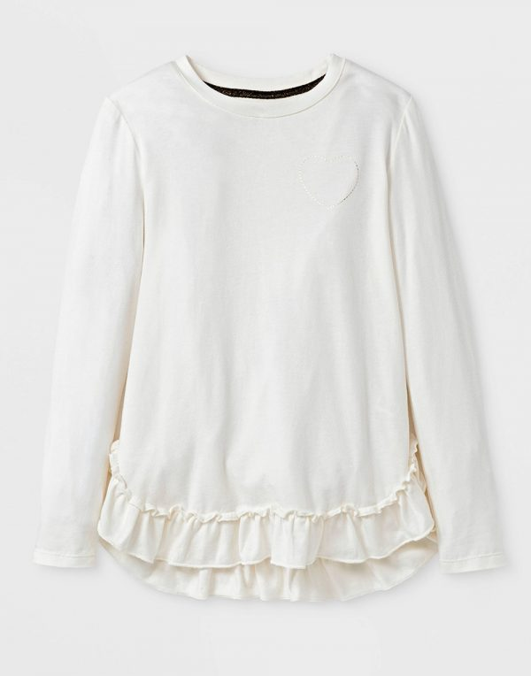 Girls' Long Sleeve Ruffle Top - Cream