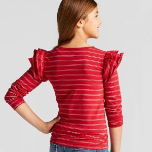 Girls' Shine Stripe Long Sleeve Ruffle Top