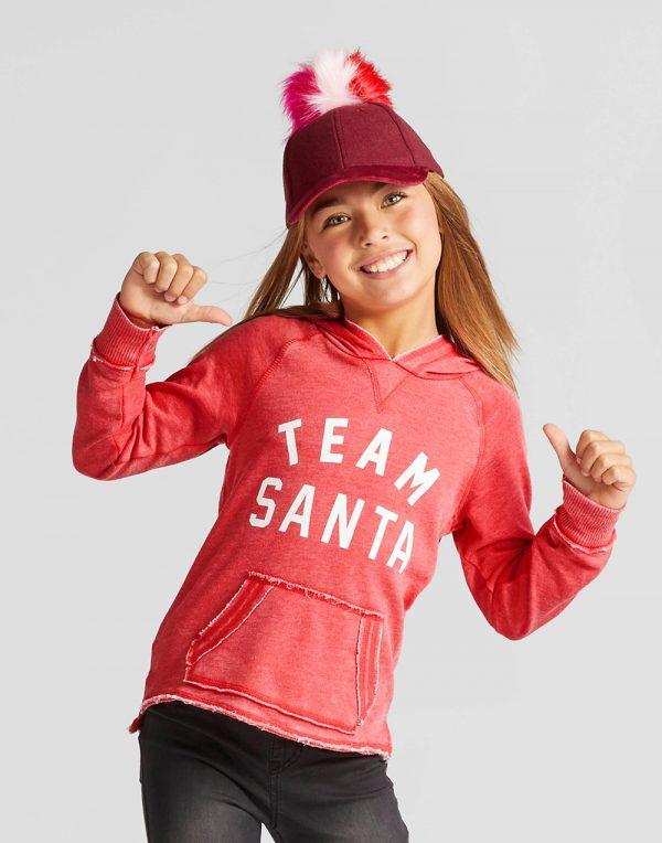 Grayson Social Girls' Team Santa Graphic Hoodie - Red