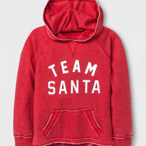 Grayson Social Girls' Team Santa Graphic Hoodie - Red