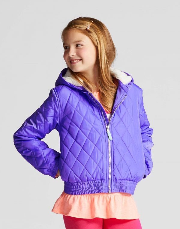 Girls' Unicorn Puffer Jacket - Purple