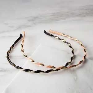 La-ta-da Faux Leather & Gold Twist Headbands