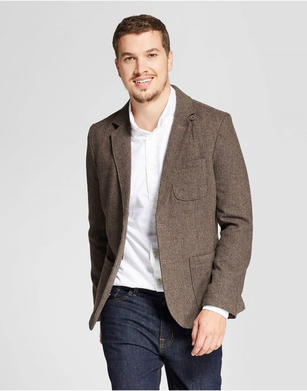 Men's Herringbone Blazer Brown