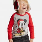Toddler Boys' Disney Mickey Mouse in Santa Hat and Scarf Long Sleeve T-Shirt