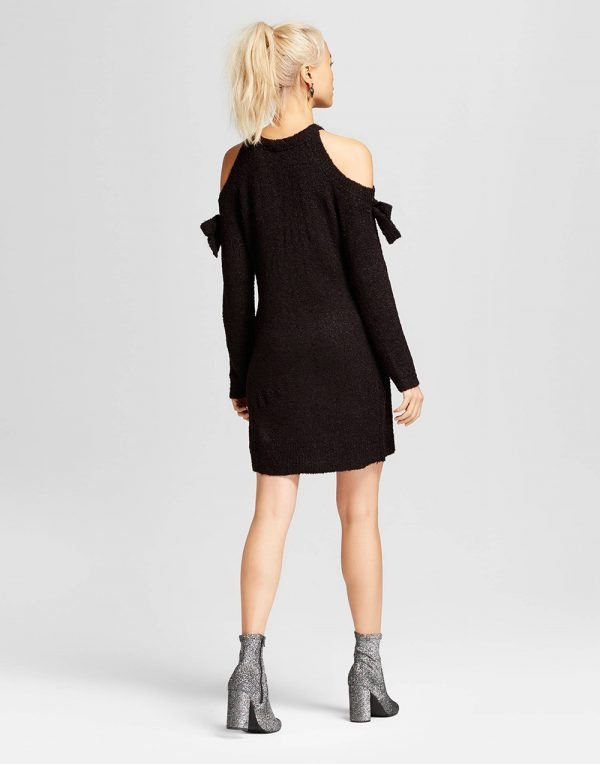 Women's Cold-Shoulder Bow-Sleeve Sweater Dress