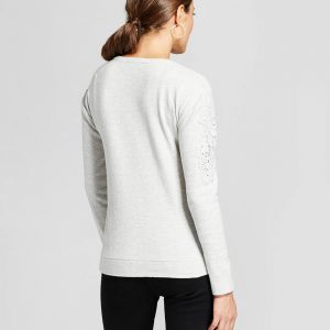 Women's Crochet Shoulder Chevron Sweatshirt