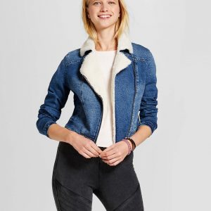 Women's Denim Sherpa Moto Jacket