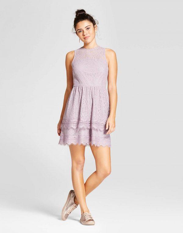 Women's Double Ruffle Lace Fit & Flare Dress