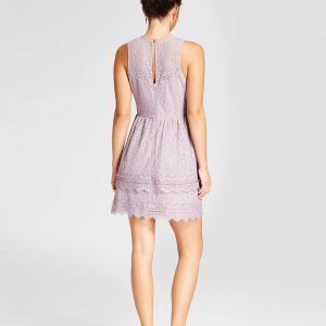 Women's Double Ruffle Lace Fit & Flare Dress
