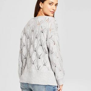 Women's Embellished Pointelle Open Cardigan