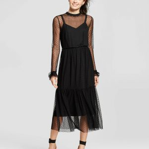 Women's Fabric Mix Midi Dress