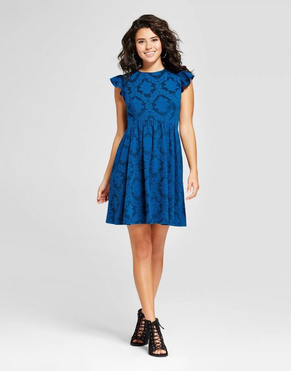 Women's Jacquard Ruffle Sleeve Fit & Flare Dress