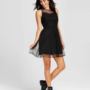 Women's Lace Fit & Flare Dress - Black