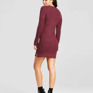 Women's Lace-Up Sweater Dress