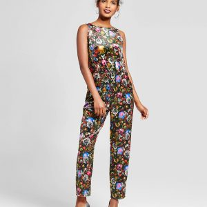 Women's Ornament Velvet Jumpsuit