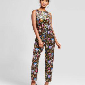 Women's Ornament Velvet Jumpsuit