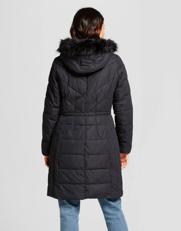 Women's Puffer Jacket with Faux Fur Hood Detail