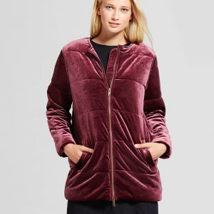 Women's Quilted Velvet Bomber Jacket