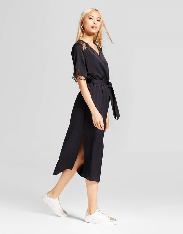 Women's Fabric Mix Midi Wrap Jumpsuit