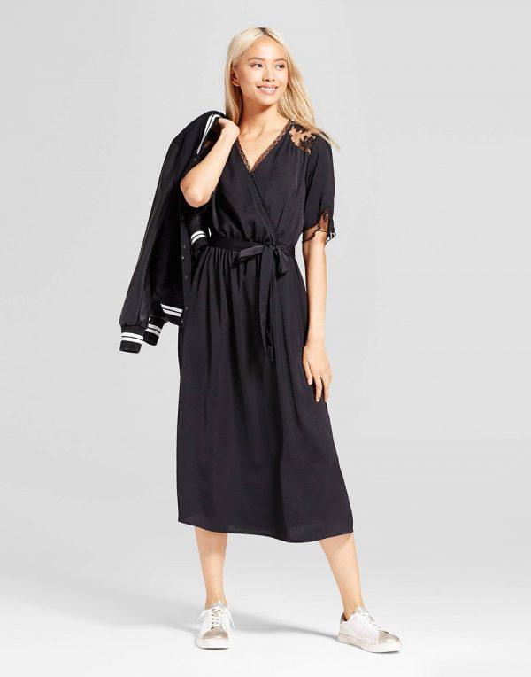 Women's Satin and Lace Midi Dress