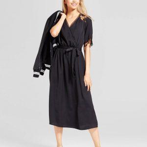 Women's Fabric Mix Midi Wrap Jumpsuit