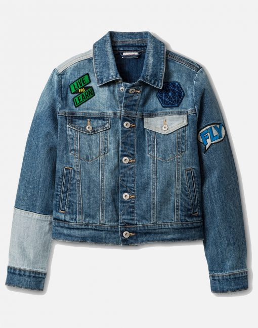 Boys' Patched Medium Wash Denim Jacket - Blue