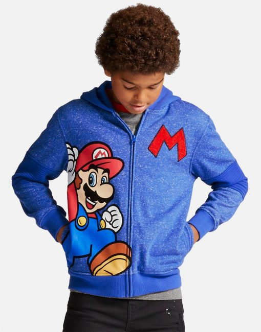 Boys' Super Mario Fleece Jacket Hoodie - Blue