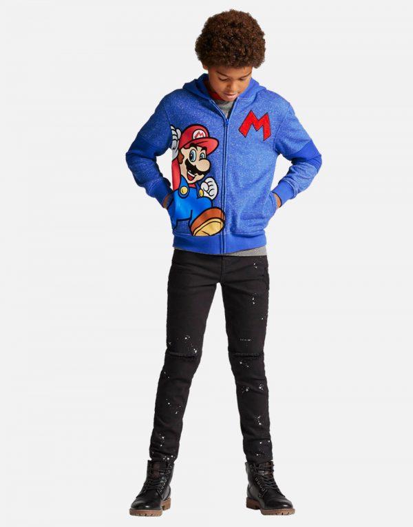 Boys' Super Mario Fleece Jacket Hoodie - Blue