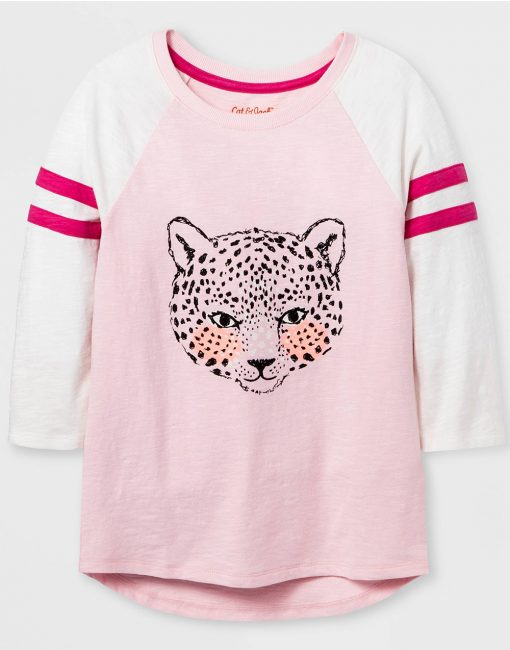 Girls' Sleeve Animal Baseball Graphic T-Shirt - Pink