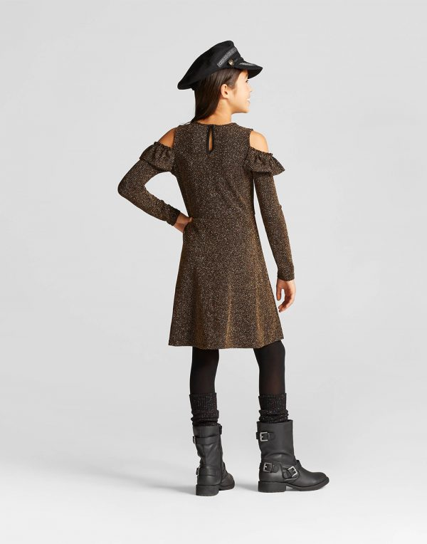 Girls' Cold Shoulder Bling Dress - Black