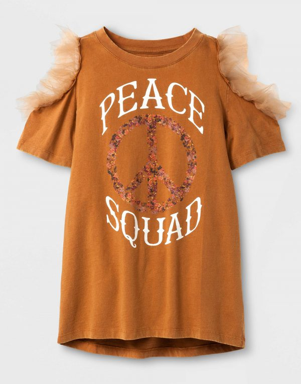 Girls' Cold Shoulder Short Sleeve T-Shirt with Tulle - Orange