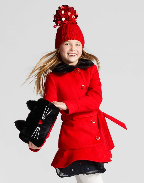 Girls' Faux Wool Jacket With Removable Faux Fur Collar