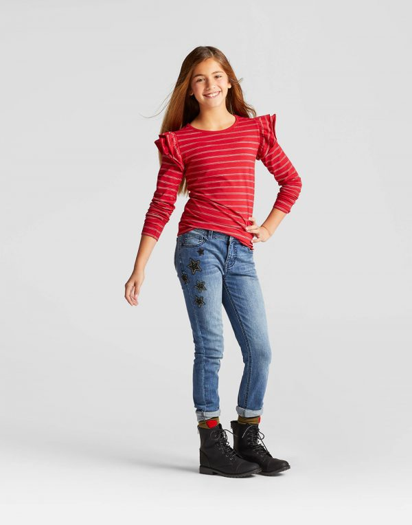 Girls' Shine Stripe Long Sleeve Ruffle Top