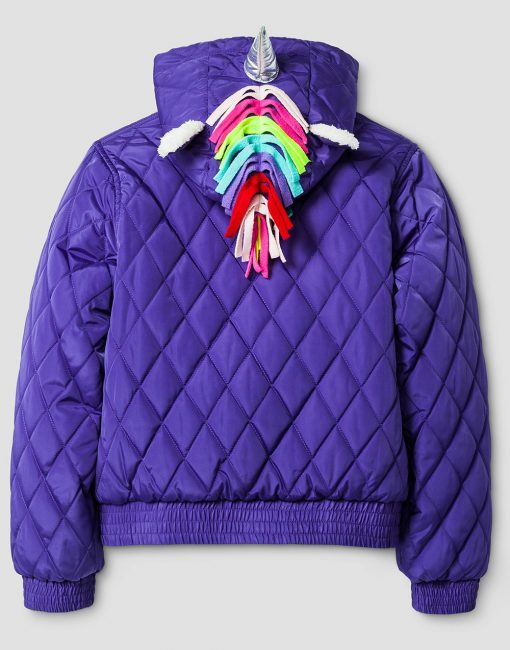 Girls' Unicorn Puffer Jacket - Purple