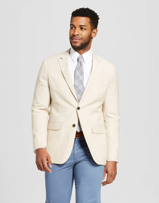 Men's Slim Fit Linen Suit Coat Khaki