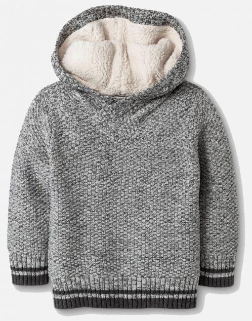 Toddler Boys' Sherpa Hoodie Sweater - Gray