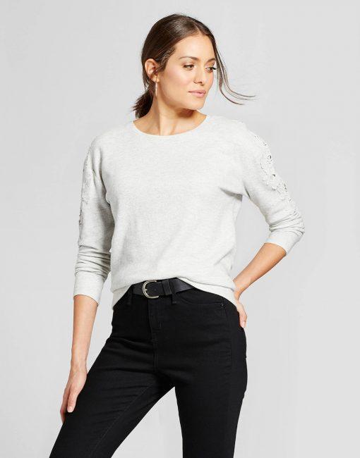 Women's Crochet Shoulder Chevron Sweatshirt