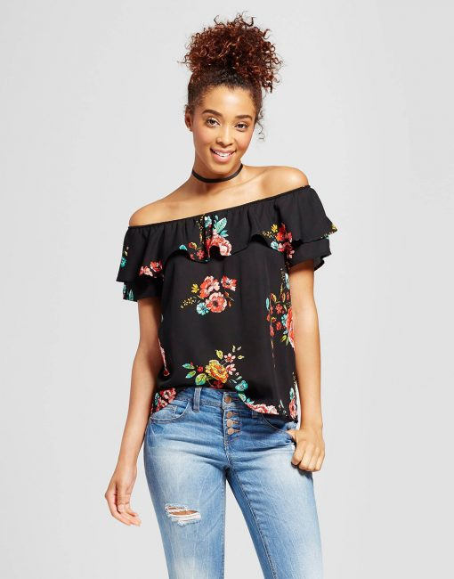 Women's Double Ruffle Off The Shoulder Top