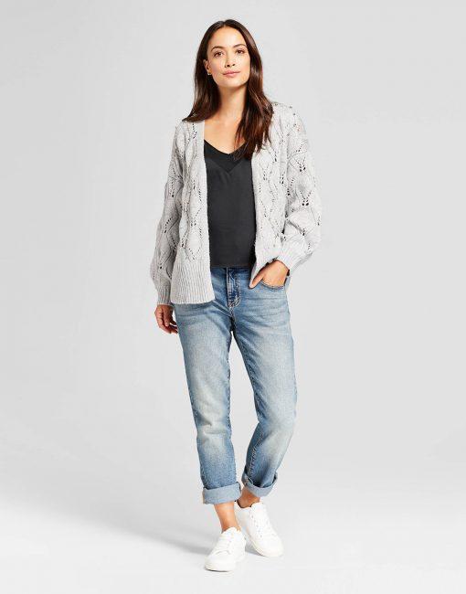 Women's Embellished Pointelle Open Cardigan