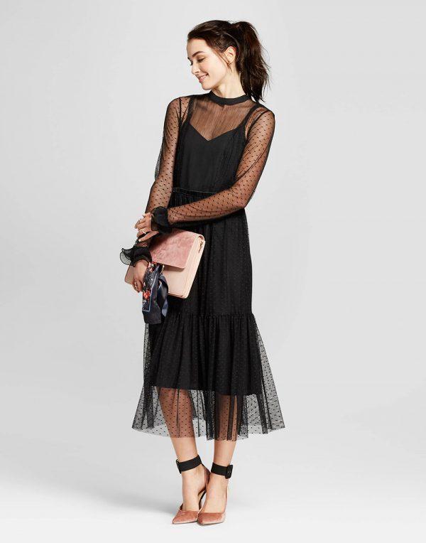 Women's Fabric Mix Midi Dress